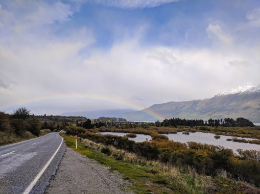 Finding a ride at the edge of the rainbow outside Glenochy, NZ